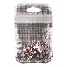 Стразы разноразмерные 250 шт. в пакетике Бледно-розовые