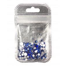 Стразы разноразмерные 250 шт. в пакетике Синие