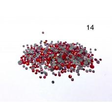 Стразы разноразмерные №14 красный
