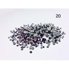 Стразы разноразмерные №20 фиолетовый