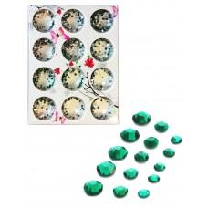 Стразы разноразмерные в коробке 010 Зеленые