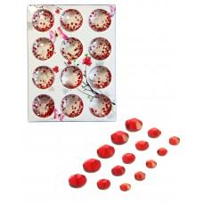 Стразы разноразмерные в коробке 019 Красные