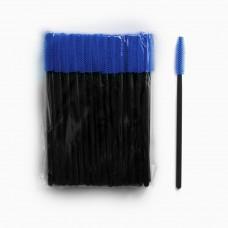 Силиконовые щеточки для ресниц и бровей 50 шт синие