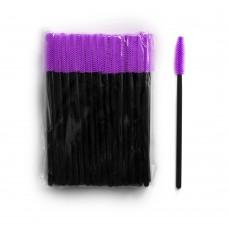 Силиконовые щеточки для ресниц и бровей 50 шт фиолетовые