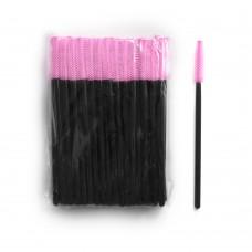 Силиконовые щеточки для ресниц и бровей 50 шт розовые