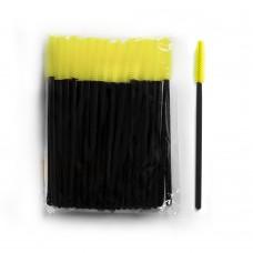 Силиконовые щеточки для ресниц и бровей 50 шт желтые