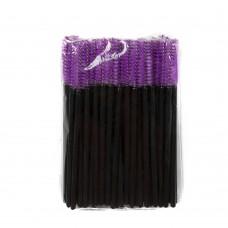 Одноразовые щеточки для ресниц и бровей 50 шт фиолетовые