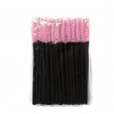 Одноразовые щеточки для ресниц и бровей 50 шт розовые